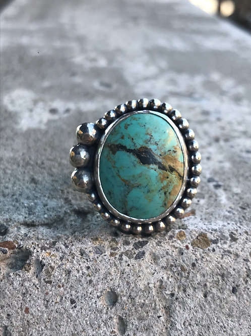 Cripple Creek Turquoise and Fine/Sterling Silver Ring (size 8.5)