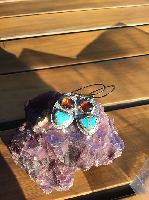Morenci Turquoise, Baltic Amber and Fine/Sterling Silver Earrings
