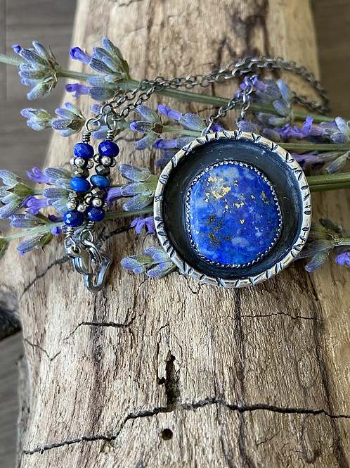 Lapis Lazuli and Fine/Sterling Silver Pendant