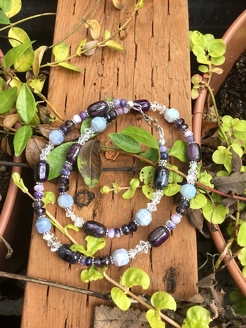 Sugilite, Opals, Iolite, Herkimer Diamonds and Sterling Silver Necklace