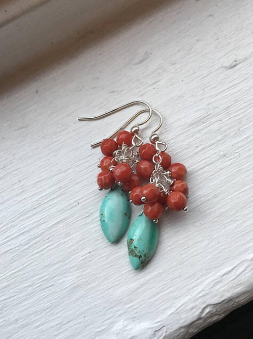 AAA Turquoise, Coral and Sterling Silver Earrings