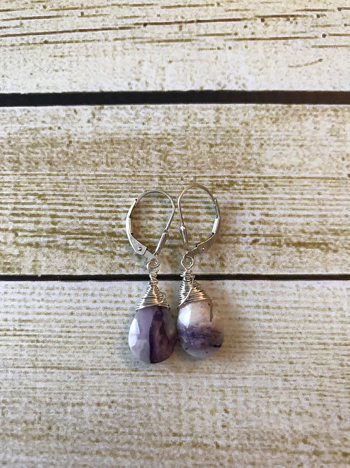 Peruvian Lavender Opal and Sterling Silver Earrings