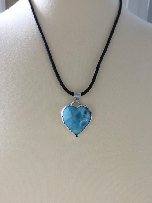 AAA Larimar and Fine/Sterling Silver Pendant with Leather Cord