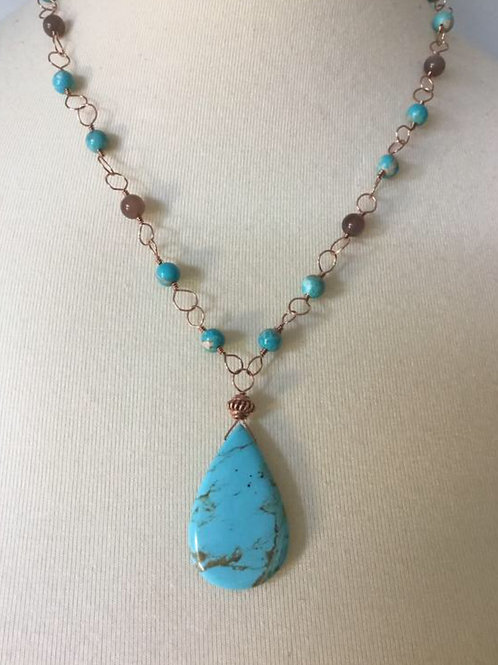 Stunning Turquoise, Chocolate Moonstone and Copper Necklace