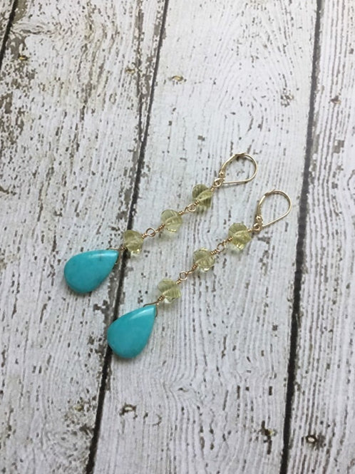 Sleeping Beauty Turquoise, AAA Lemon Quartz and 14k SOLID Gold Earrings
