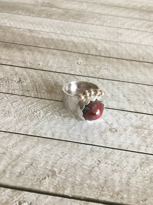 Sonoran Sunrise, Brushed Fine/Sterling Silver & 14k SOLID Gold Ring (size 7.75)