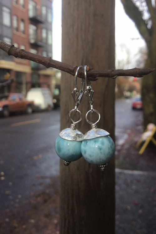 Larimar and Fine/Sterling Silver Earrings