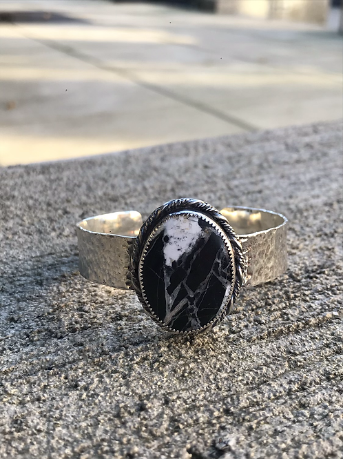 White Buffalo and Fine/Sterling Silver Hammered Cuff