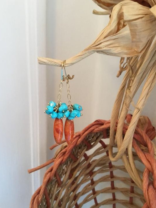 Natural Sponge Coral, Sleeping Beauty Turquoise and 14k Gold Fill Earrings