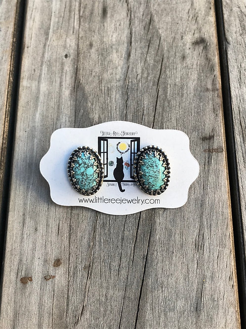 Number 8 Turquoise and Oxidized Sterling Silver Earrings