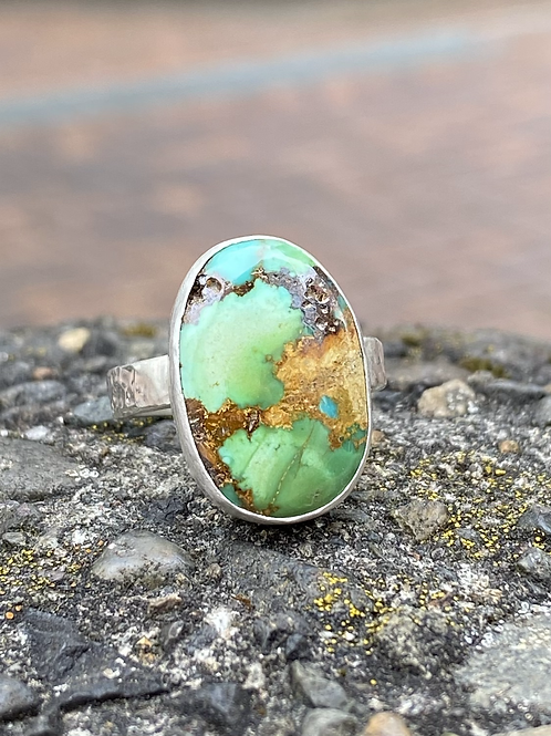 Minimalist Sonora Peak Turquoise and Fine/Sterling Silver Ring (size 7.5)