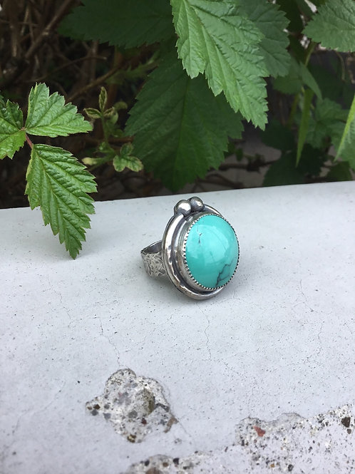 Nevada Blue Turquoise and Fine/Sterling Silver Ring (size 6.5)