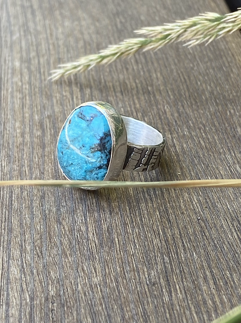 Minimalist Kingman Turquoise and Fine/Sterling Silver Ring (size 8.75)