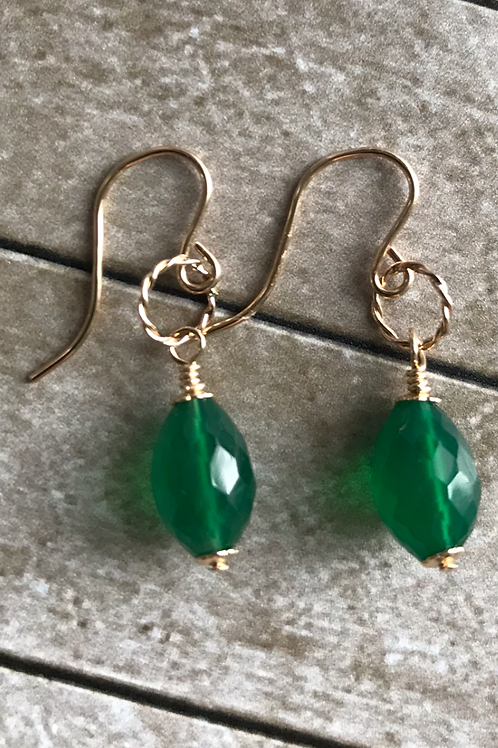 Green Onyx and 14k Gold Fill Earrings