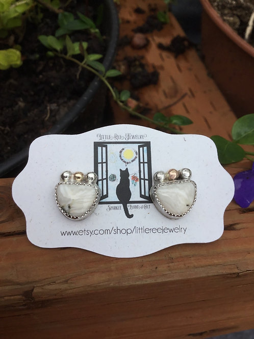 White Buffalo and Fine/Sterling Silver and 14k SOLID Gold Post Earrings