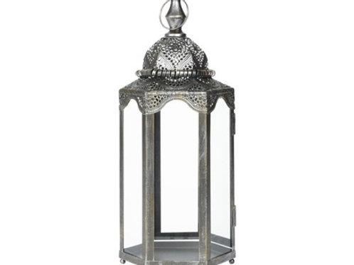 Lanterne métal antique H 44.5 cm argent