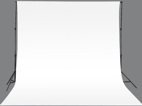Kit Système de fond + tissu de fond 3 x 3 m Blanc