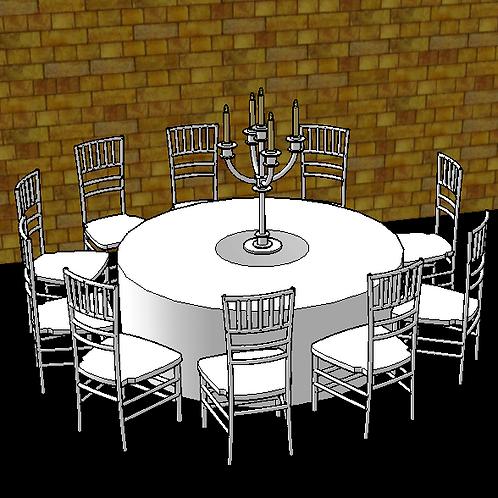Table de réception pour 8 personnes avec des chaises Chiavari