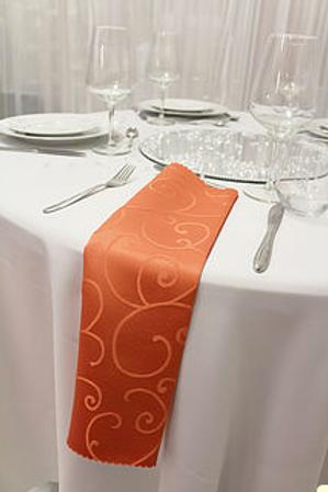 Serviette  damassée orange