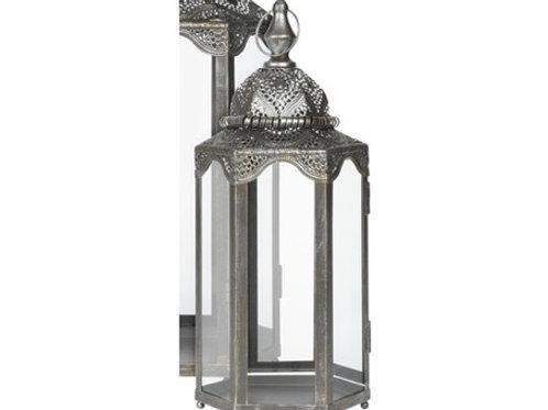Lanterne antique H 34cm métal argent