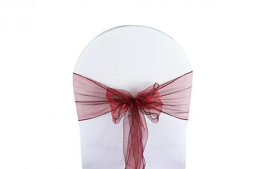 Nœud de chaise organza rouge bordeaux 20x260cm