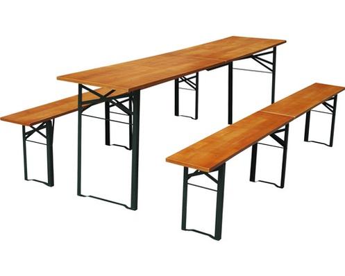 Set Table Et Bancs Pliants Longueur 220 Cm Sapin