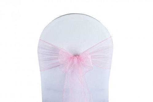 Nœud de chaise organza rose pale 20x260cm