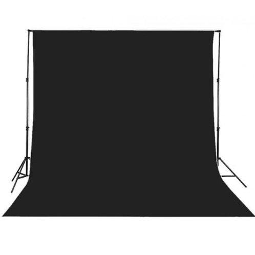 Set système de fond + 3 x 6 m tissu de fond Noir