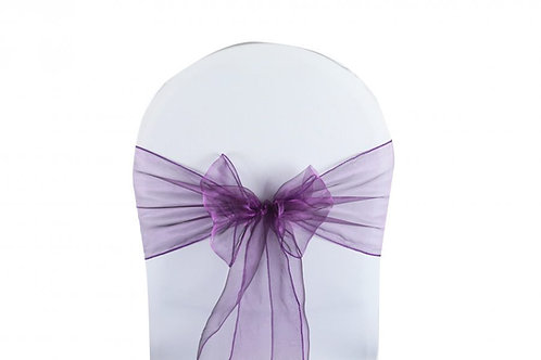 Nœud de chaise organza violet 20x260cm