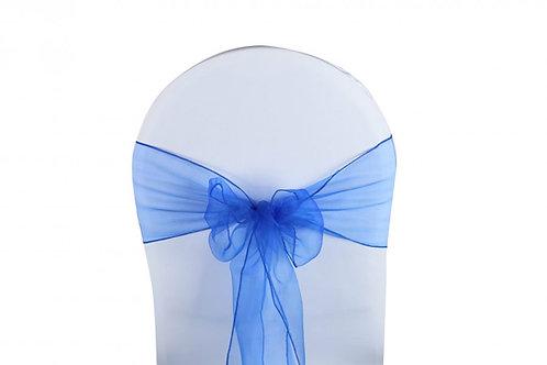 Nœud de chaise organza bleu roi 20x260cm