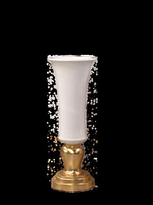 Vase Médicis doré blanc H115 D35 cm