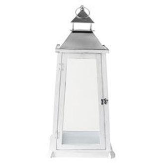 Lanterne blanche en bois 110 cm