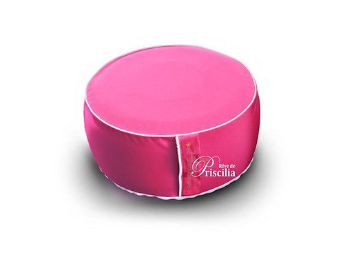 Pouf rond gonflable rose