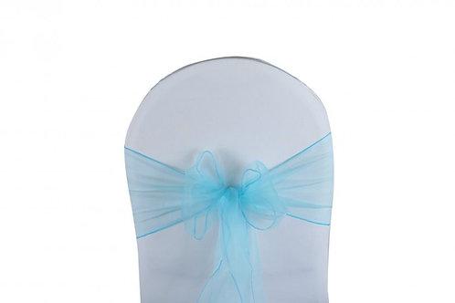 Nœud de chaise organza bleu ciel 20x260cm