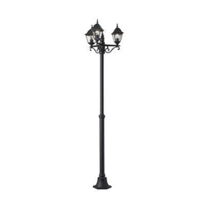 Lampadaire extérieur 3 lumières noir - Hauteur 220 cm