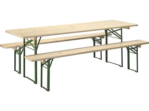 Set table et bancs pliants longueur 220 cm - épicéa