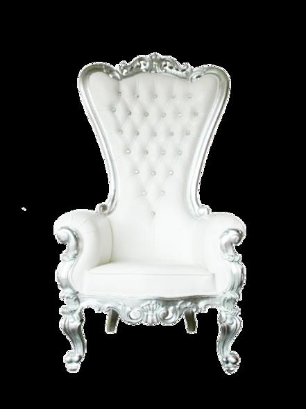 Trône Queen argenté et blanc
