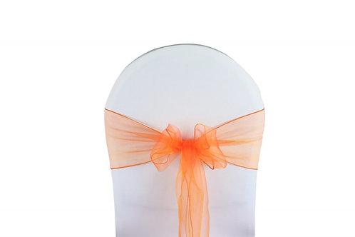 Nœud de chaise organza orange 20x260cm