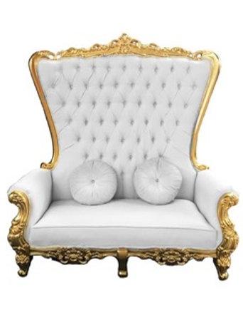 Trône Queen or et blanc - 2 places