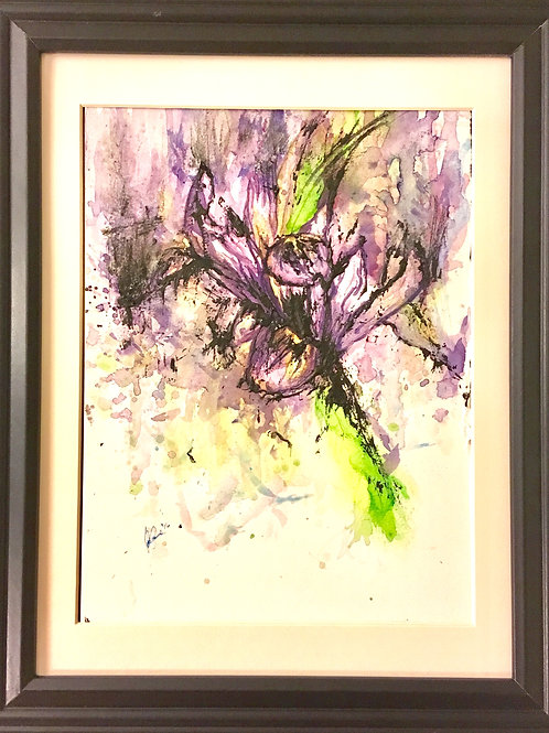 """SOLD Original """"Exploding Iris"""" ~8.5""""x 10.5"""" Watercolour Painting on Paper"""