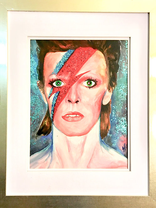 "NFS ""Star Man"" ~10"" x 12.5"", Watercolour and glitter painting,"