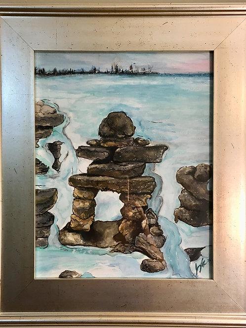 "SOLD ""Inukshuk Frozen Into Lake Huron"" 10.5"" x 13.5"" Watercolour on Paper"