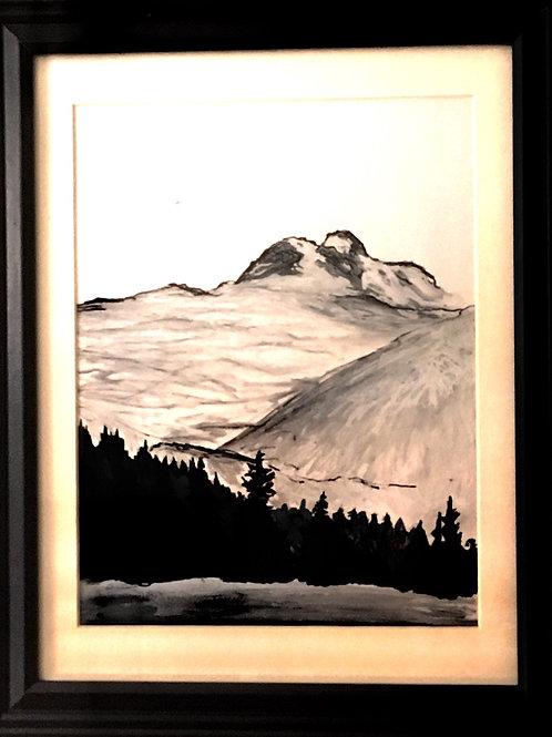 """Mount Revelstoke"" ~ 8"" x 10"", Pre-Study, Ink on Paper"