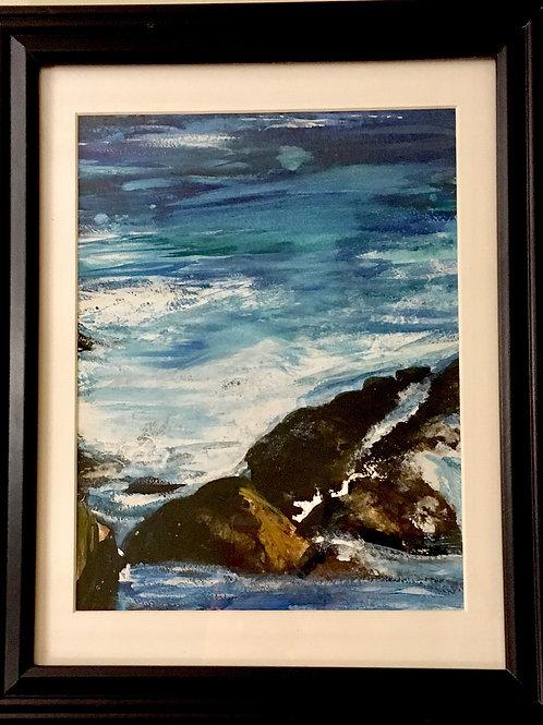 """Atlantic Crashing #3"" ~8.5"" x 10.5,"" Water colour on paper"
