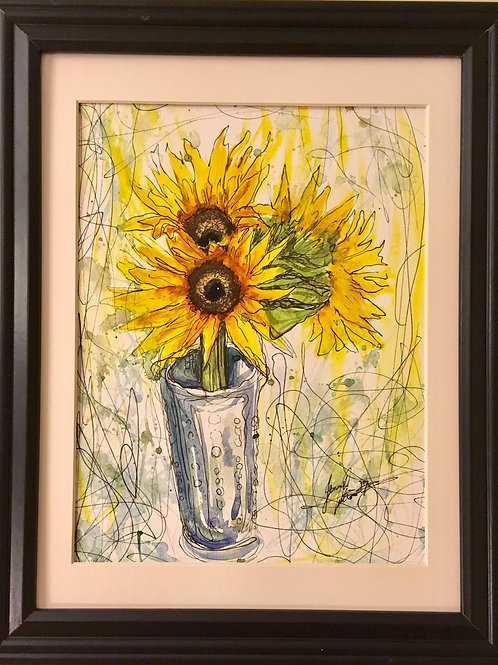 "SOLD Original ""Sunflowers"" ~ 8.5"" x 10.5"" Watercolour on Paper"