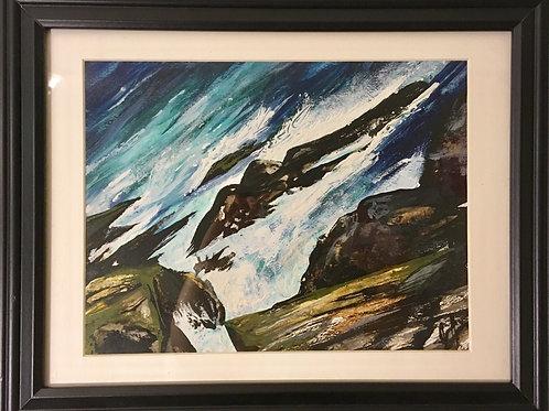 "SOLD ""Atlantic Crashing, #1""~8.5"" x 10.5"" Original Watercolour Painting"