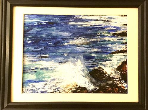 "SOLD ""Atlantic Crashing #2"" 10.5"" x 8.5,"" Watercolour on paper"