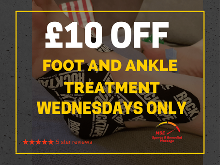Enjoy £10 off a Foot and Ankle treatment every Wednesday