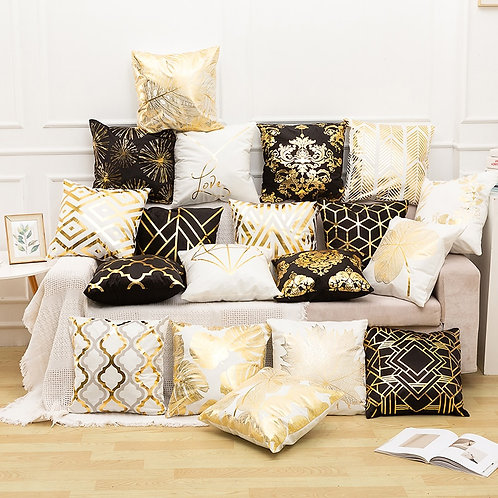 RULDGEE Printed Gold Cushion Cover