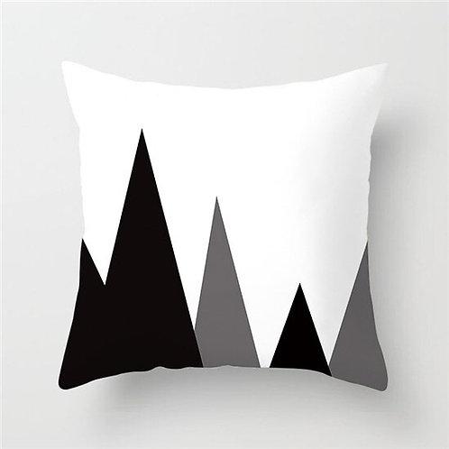 Christmas Themed Geometric Black & White Cushion Cover